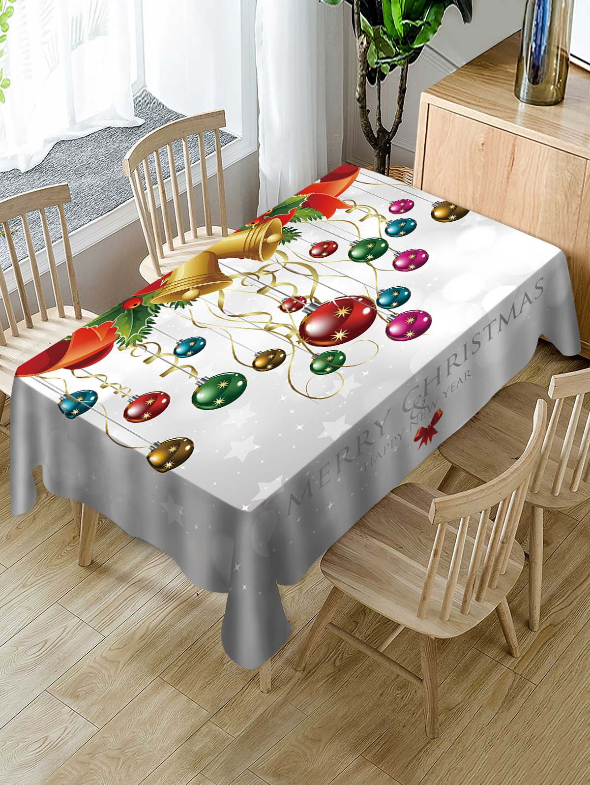 Merry Christmas Bell Ball Print Fabric Waterproof Table Cloth