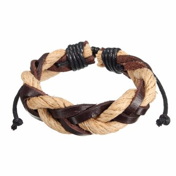 Handmade Multilayer Cannabis Woven Leather Bracelet