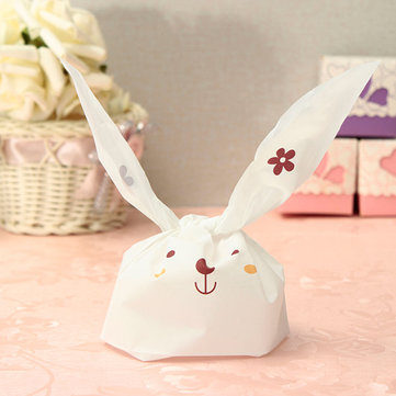 White Plastic Lovely Easter Rabbit Bag Sweet Candy Kids Cookie Bags