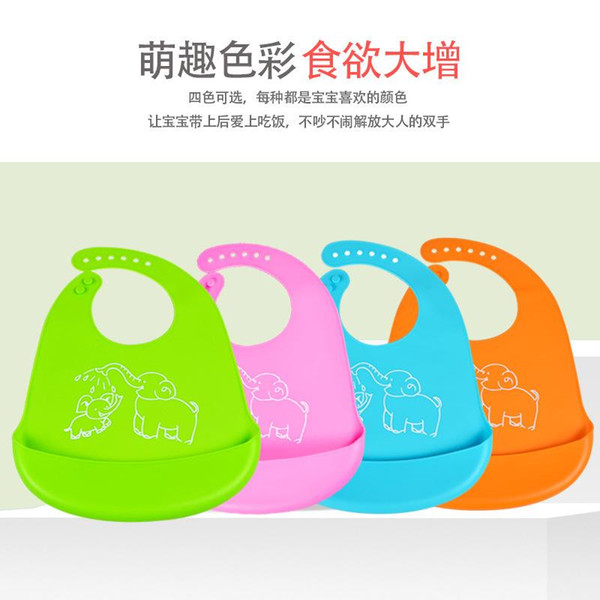 Grade Silica Gel Bib Infant Eating Pocket Three-dimensional Water-Proof Feed Soft Aprons Large Cute