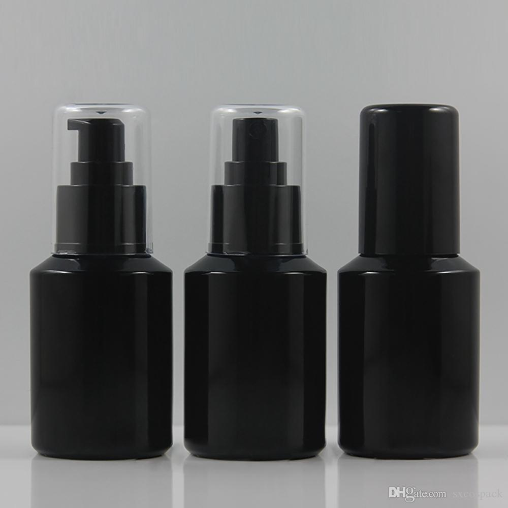 60ml Black Refillable Press Pump Glass Spray Bottle Liquid Container Perfume Atomizer Travel, Lotion Glass Bottle With Pump
