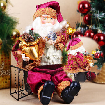 Christmas Sitting Santa Claus Doll Home Christmas Ornament Decoration Gift