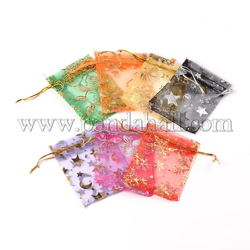Organza Bags, Mixed Color, about 7x9cm