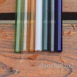 colorful reusable glass drinking straws for bar accessories 7 color options 8mm Caliber wholesale glass drinking straws