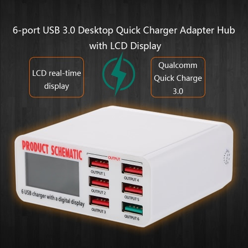 Quick Charge 3.0 6-Port 6A USB Desktop Charger Adapter Hub Multi Port USB Wall Charger Dock Station with LCD Display Intelligent IC Auto Detect Tech