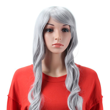 Grey Full Cosplay Wigs Costume Womens Long Curly Wavy Hair Halloween 80cm