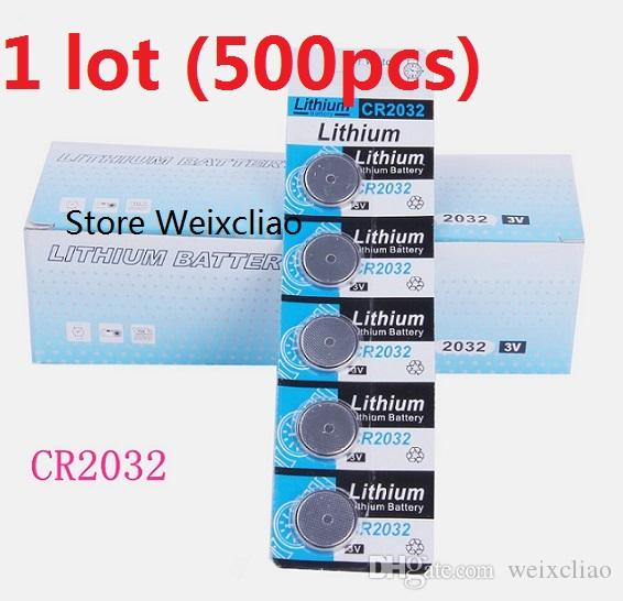 500pcs 1 lot CR2032 3V lithium li ion button cell battery CR 2032 3 Volt li-ion coin batteries card Free Shipping