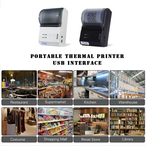 HOP-E200 Portable Thermal Receipt Printer USB+BT(3.0+4.0) Connection