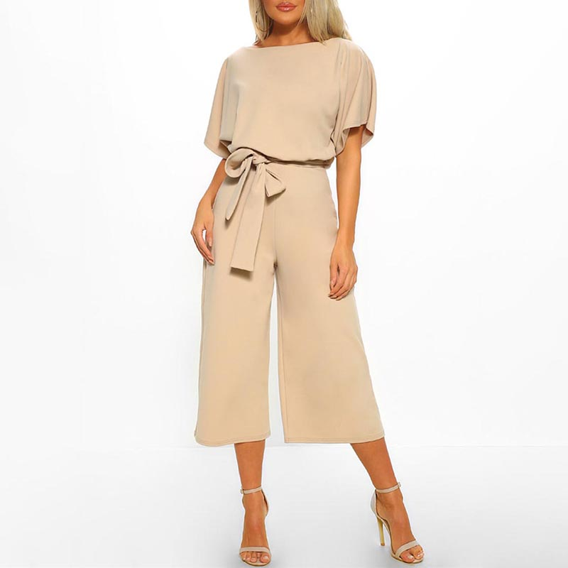 Trendy Solid Tie-up Summer Jumpsuit