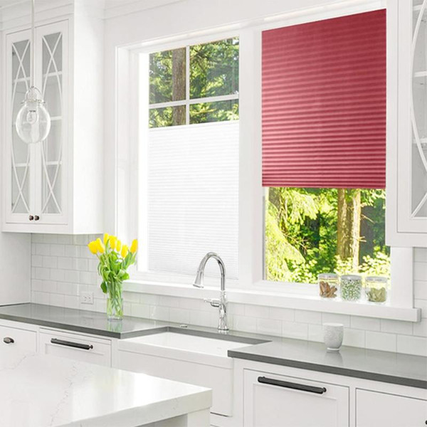 Self-Adhesive Pleated Blinds Half Blackout Windows Curtains for Living Room Home Kitchen Balcony Shades Window Curtain