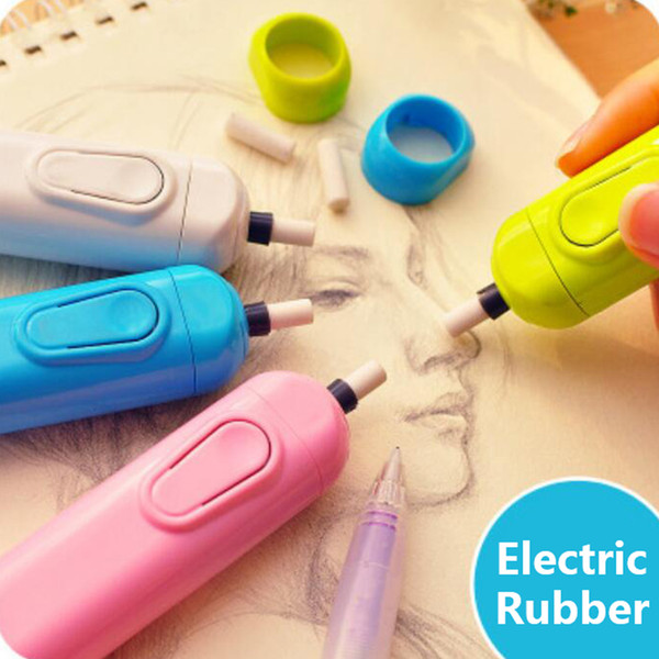 2019 electric eraser with refill cute electronic pencil rubber for kids painting drawing stationery office school supplies 100pcs