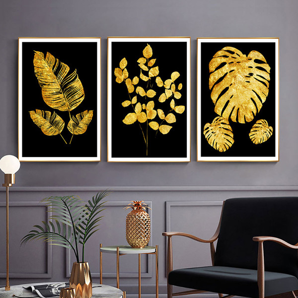 Black Yellow Leaves Wall Pictures Living Room Abstract Wall Canvas Painting Poster Painting Canvas Picture Modern Live Paintings