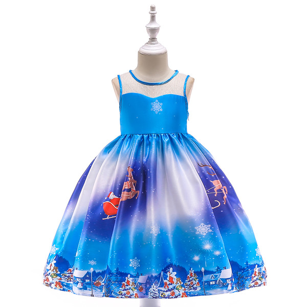 christmas festival kids children formal party wear kids formal costume for performance snow flower girls party wear