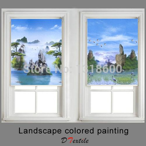 landscape colored painting window shaded fabric roller blinds of 36182