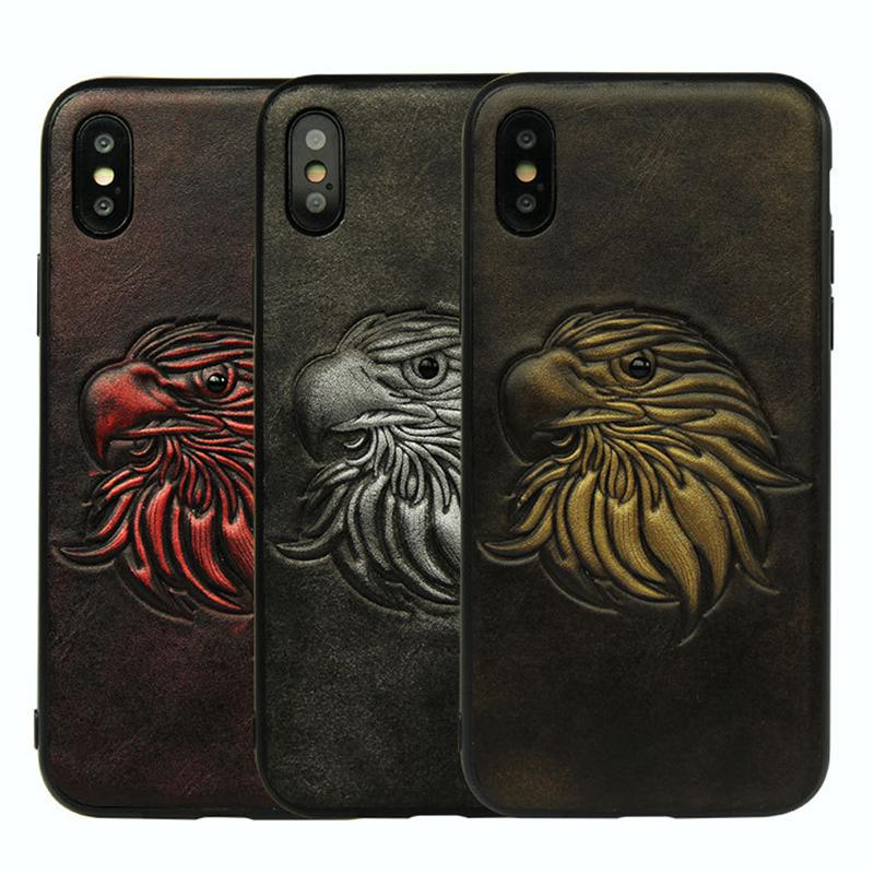 Leather 3D Eagles Phone Case For iPhone 8 i7plus 6p Bumper Case Parrot Priate Fishbone Xphone X Cases X I Phone Protective iPX