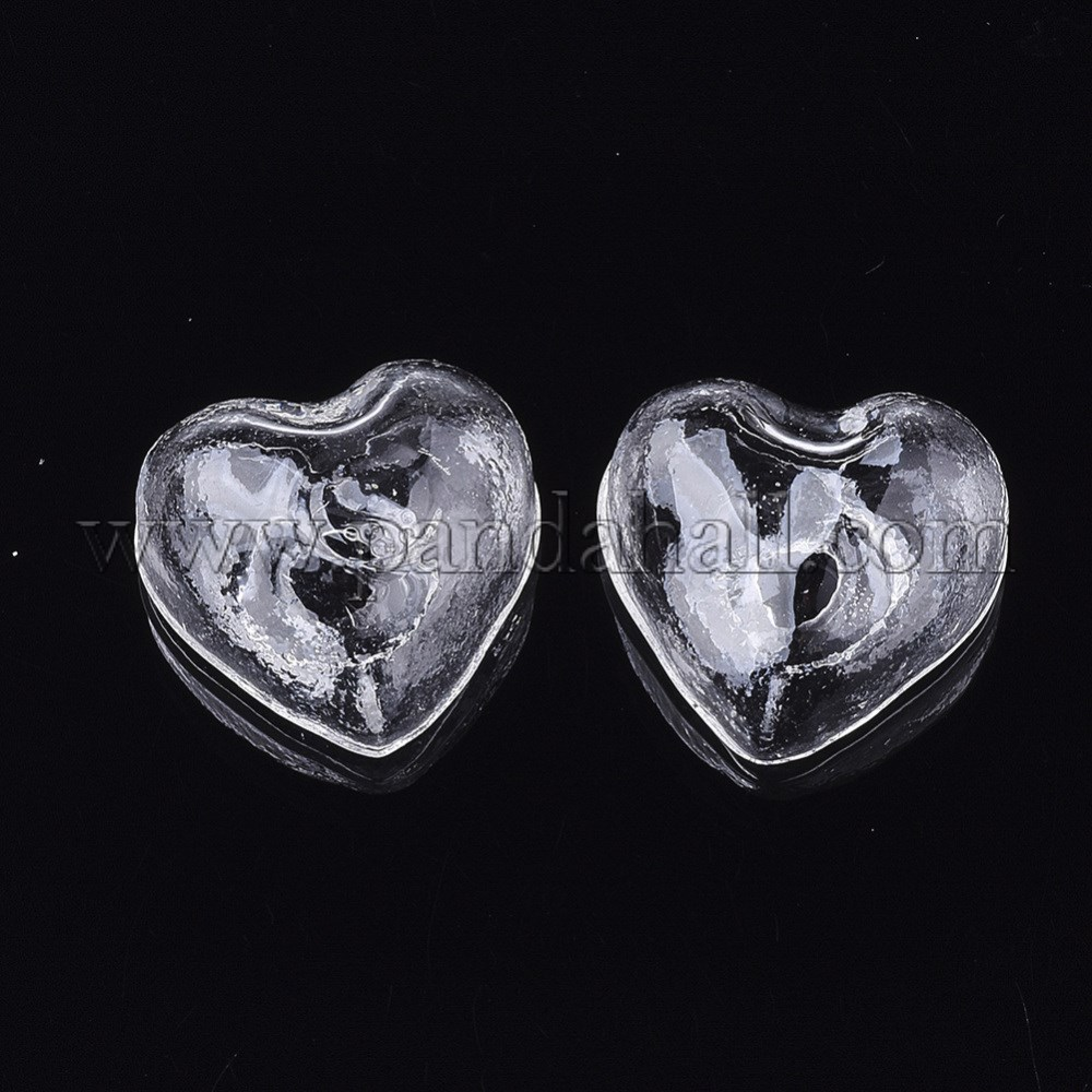 Handmade Blown Glass Beads, for Stud Earring Making or Crafts, Half Drilled, Heart, Clear, 21x22~22.5x12mm, Half Hole: 4~4.5mm