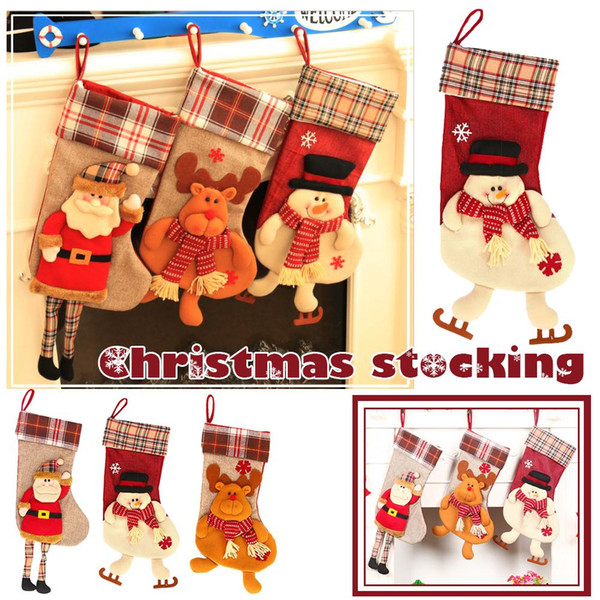 1pcs cloth fashion christmas decorations new christmas gift bag large stereoscopic socks stock creative gift