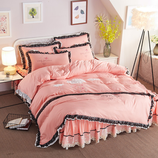 princess home bedding set cotton duvet cover + bed skirt + pillowcase 3/4pcs embroidery twin full queen king black lace edge a4