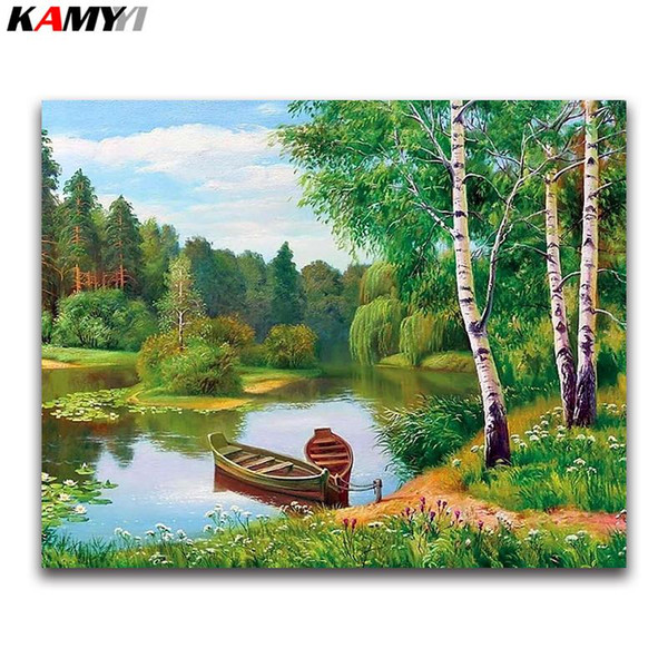 Green Tree Full square Diamond mosaic Forest 5D DIY Diamond painting Cross stitch Boat round embroidery Landscape Water