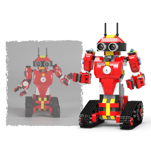 electronics robots 448 pcs building blocks programming robot assembled toys rechargeable with tracks control by remote app red