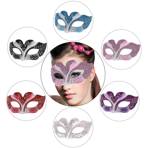 Festnight Sexy Plastic Phantom Half Mask Halloween Masquerade Ball Mask with Glitter Decoration