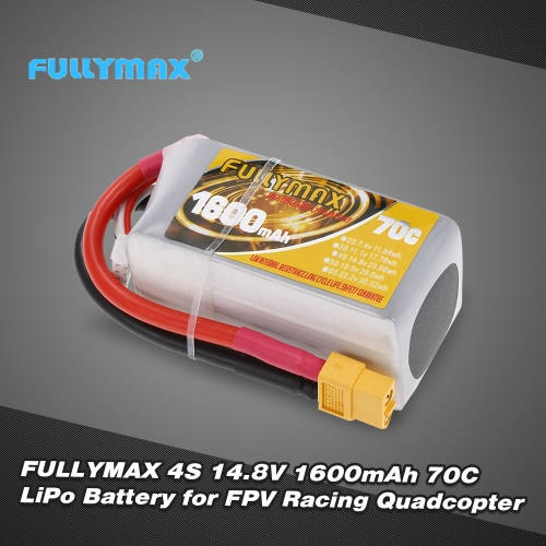 FULLYMAX 4S 14.8V 1600mAh 70C High Rate XT60 Plug LiPo Battery for QAV210 250 FPV Racing Quadcopter RC Car Boat