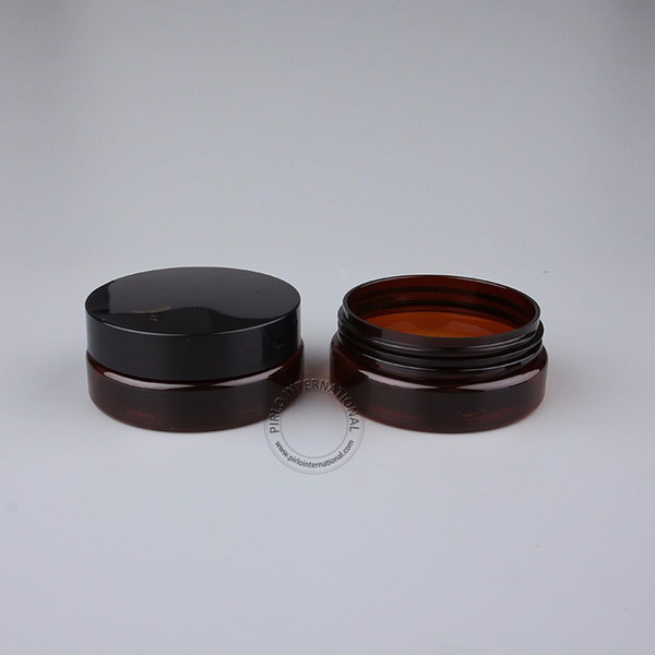 50 x 50g amber plastic cream jar pet facial mask bottle 50cc amber cosmetic containers refillable bottle with lid ing