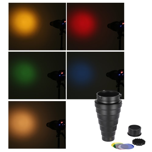 Métal Snoot conique avec Honeycomb grille 5pcs Color Filter Kit pour Bowens Mont Studio stroboscope Flash Monolight photographie