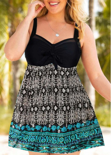 Keyhole Back Plus Size Tribal Print Swimdress and Shorts