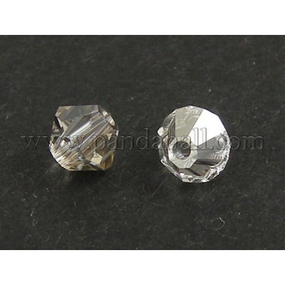 Austrian Crystal Beads, 5301 6mm, Bicone, Crystal Silver Shadow Color, Size: about 6mm long, 6mm wide, Hole: 1mm