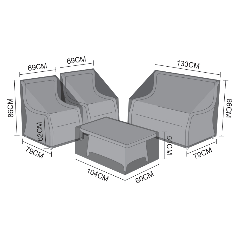 Cover Pack for Oyster 2 Seater Sofa Set