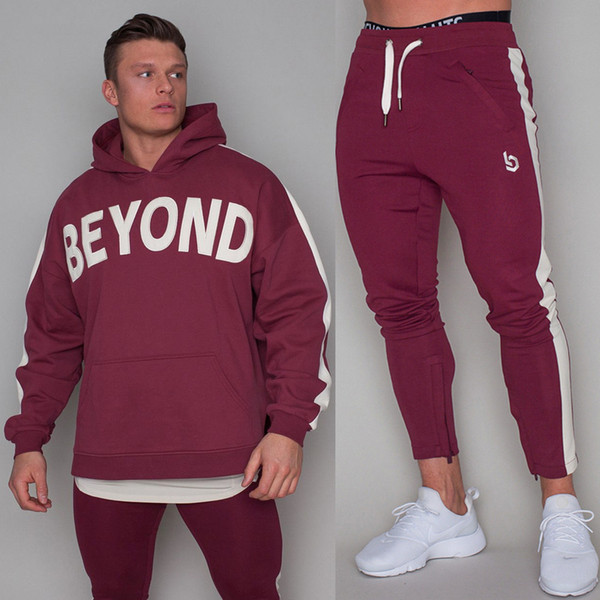 New Sportswear Set Mens Running Sports Sweatshirt Sweatpants Gym Fitness Hoodie Pants Suit Male Jogging Workout Cotton Tracksuit
