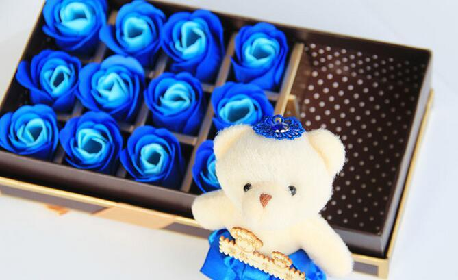 Valentine's day gifts, lovely bear and 18 soap roses wedding gift box of soap free shipping SR10