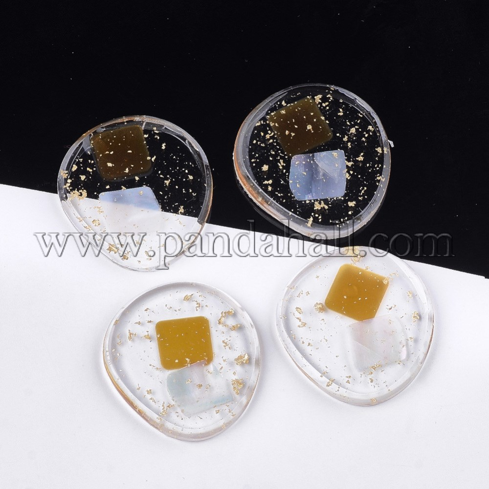 Transparent Resin Cabochons, with Shell and Gold Foil, Flat Round, Goldenrod, 32.5x30x4~4.5mm