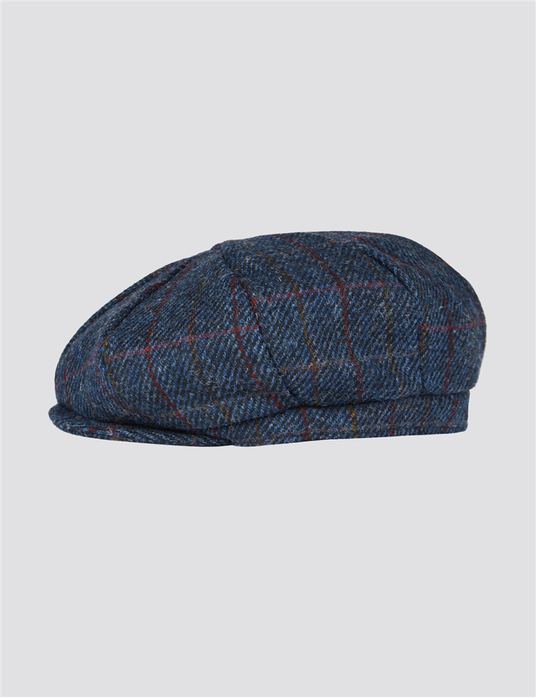 Gibson Blue Check Harris Tweed Hat Blue