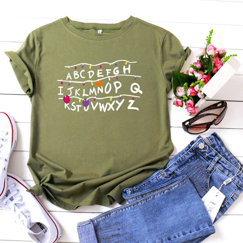 Pretty Comfy Short-sleeve Letter Tee For women