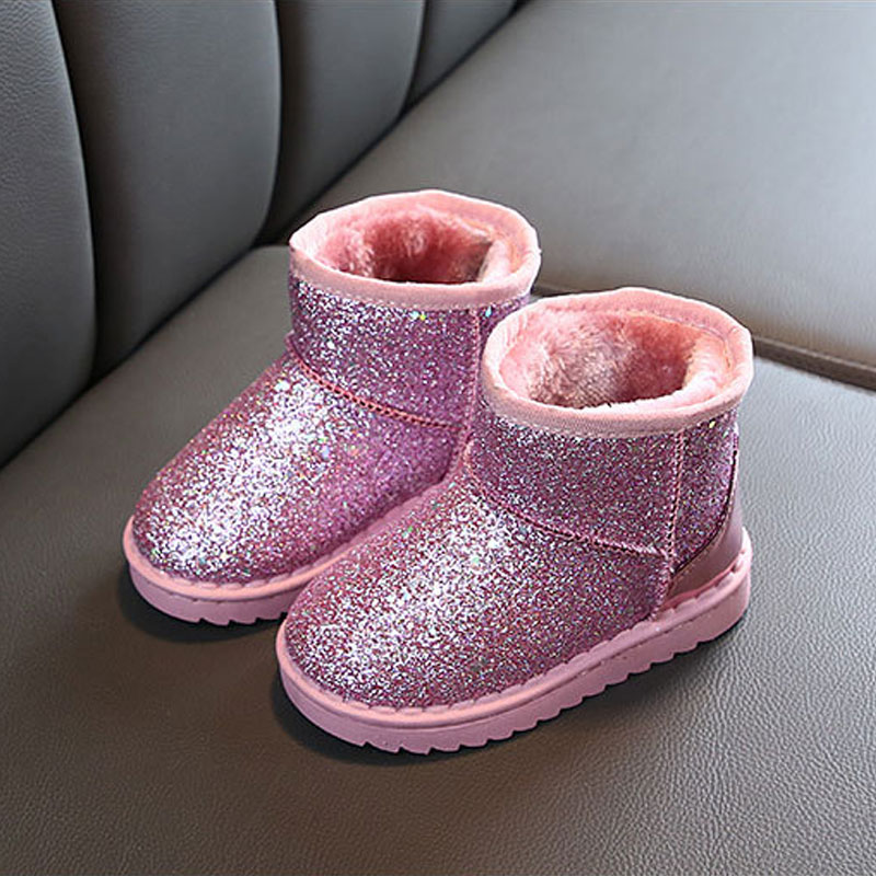 Toddler Girl Stylish Sequined Shiny Solid Fleece-lining Warm Boots