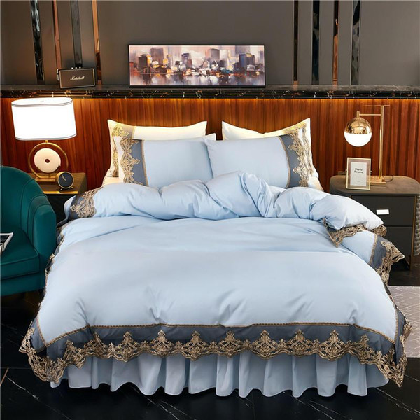 2020 new products Solid color Thickened frosted fabric Bed skirt Pillowcases 4Pcs Luxury Embroidery lace Princess bedding.
