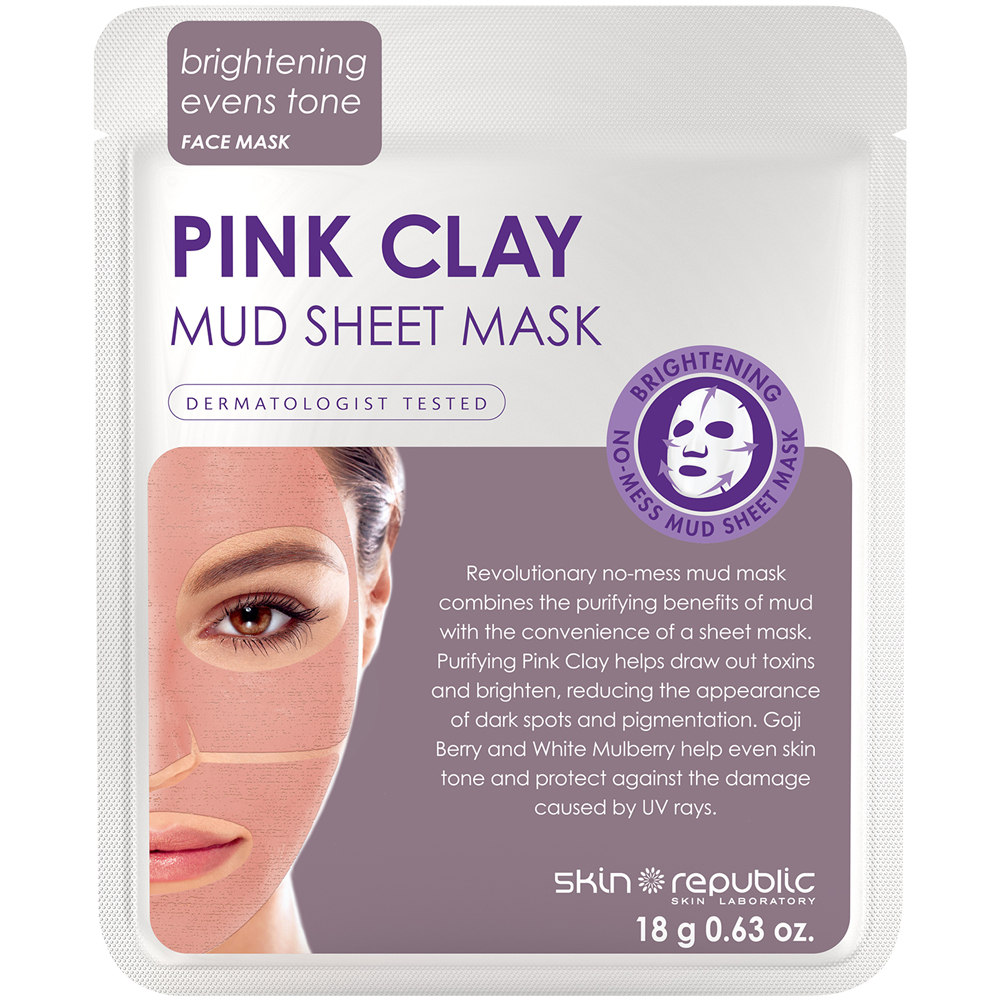 skin republic pink clay mud sheet mask  18g