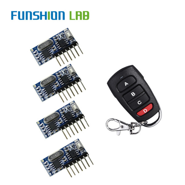 funshion rf remote control transmitter & 433mhz wireless receiver learning code 1527 decoding module 4 ch output learning button
