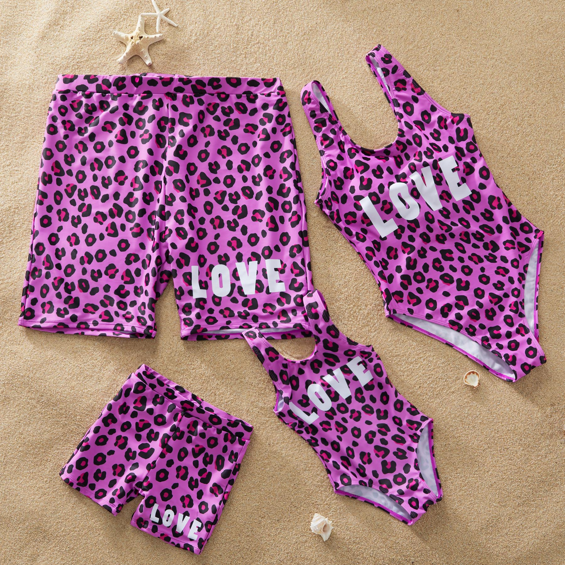 Leopard Love One-Piece Matching Swimsuit for Family