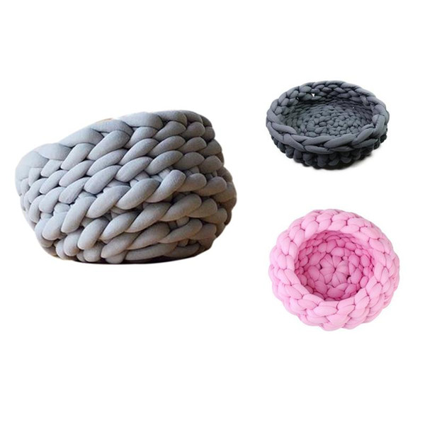 Practical Pet Kennel Dog Cat Hand-Woven Bed Knit Nest House Puppy Kitten Cave Basket Sleeping Bag Dogs Kennel Supplies