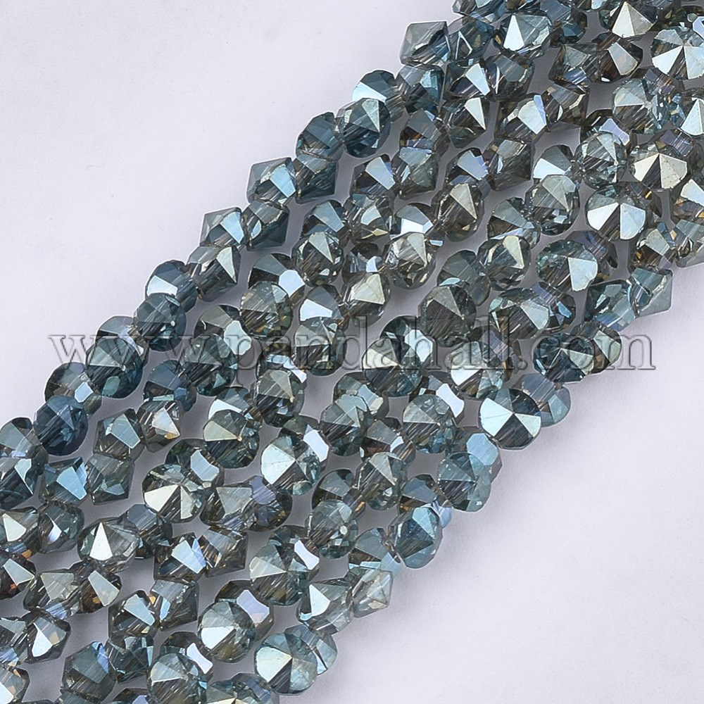 Electroplate Glass Beads Strands, Faceted, Diamond, CadetBlue, 3.5x3x3mm, Hole: 0.8mm; about 148pcs/strand, 13.7''