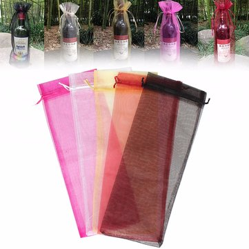 Organza Wine Bottle Gift Bag For Christmas Wedding Party Decor 37x15cm