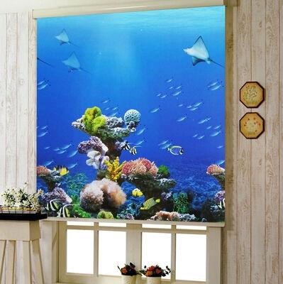 anti-uv blinds waterproof colorful drawing blue sky dolphin finished roller blind 3615