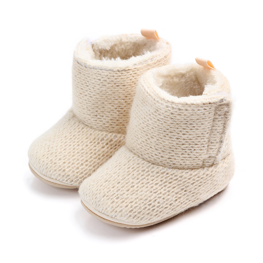 Baby / Toddler Solid Knitted Cotton Prewalker Boots