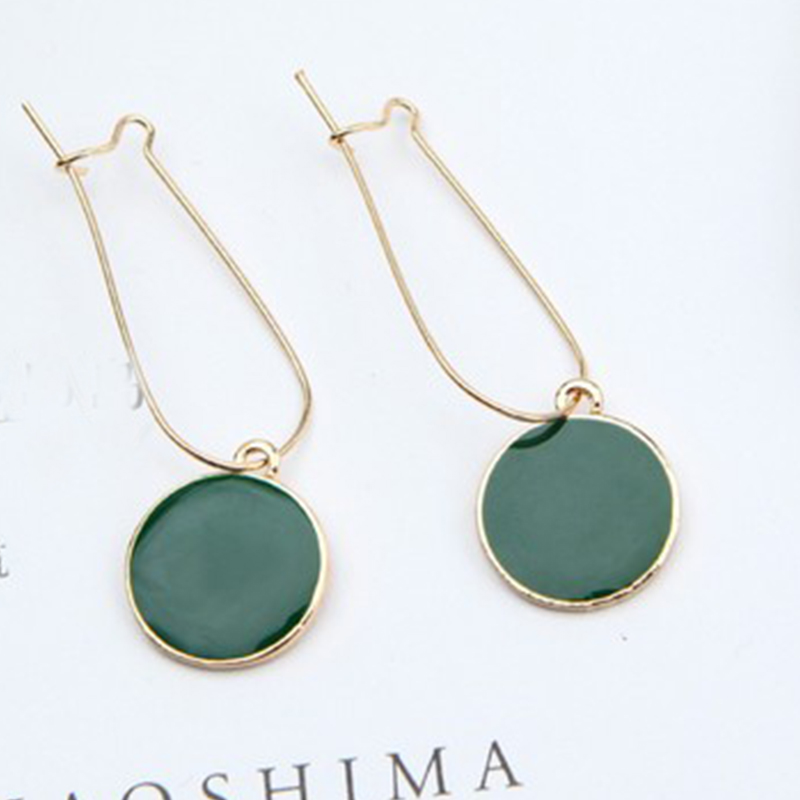 Retro Solid Dark Green Earrings
